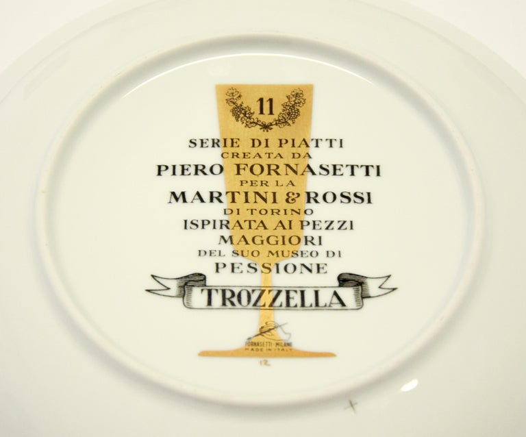 Trozzella Plate for Martini & Rossi, by P. Fornasetti, 1960s In Excellent Condition For Sale In Roma, IT