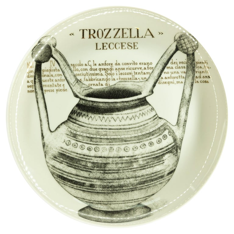 Trozzella Plate for Martini & Rossi, by P. Fornasetti, 1960s For Sale