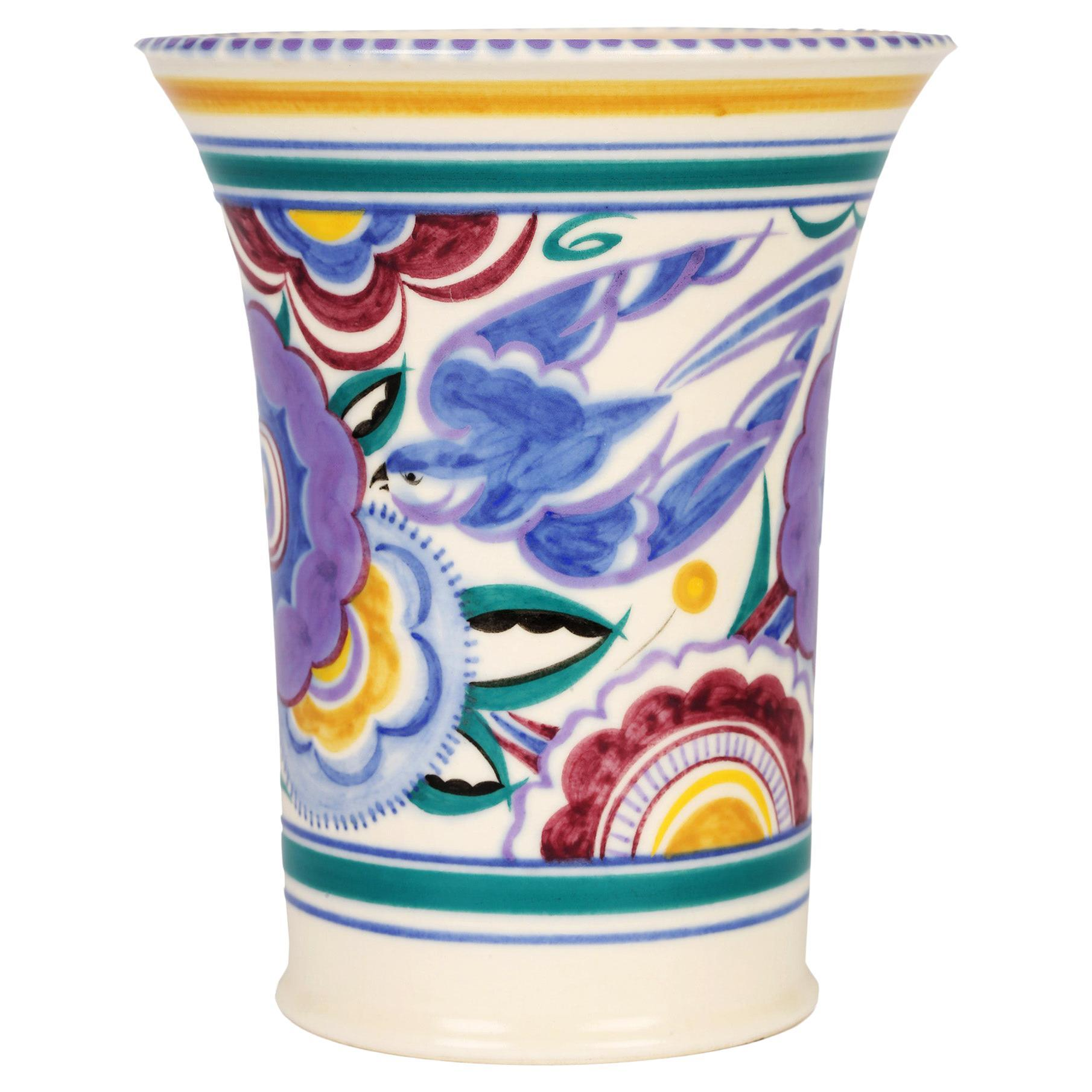 Truda Carter Poole Pottery Art Deco Bluebird Art Pottery Vase