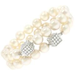 Trudel Swiss Modern Pearl and Diamond-Set Gold Bracelets