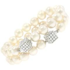 Trudel Swiss Modern Pearl and Diamond-Set Gold Bracelets