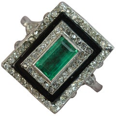True Art Deco Platinum Emerald Diamond and Onyx Panel Ring