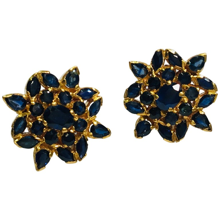 True Blue Sapphire Snowflake or Flower Style 22 Karat Yellow Gold Earrings For Sale