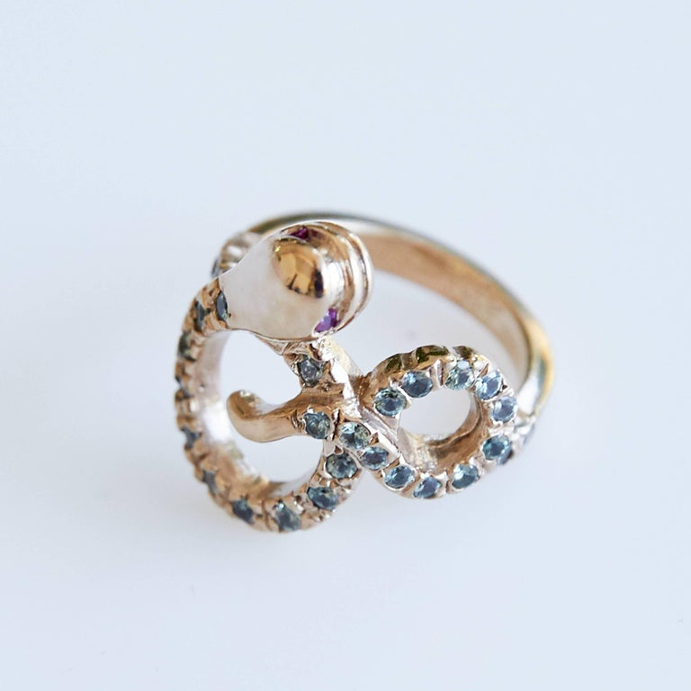 Green Sapphire Ruby Gold Snake Cocktail Ring Victorian Style J Dauphin  J DAUPHIN