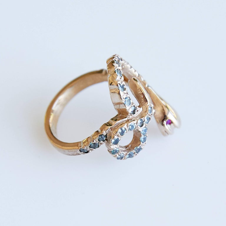 Brilliant Cut Gold Snake Ring Cocktail Ring Victorian Style Sapphire Ruby J Dauphin For Sale