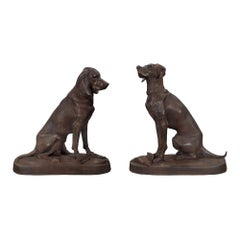 True Pair of Continental 19th Century Cast Iron Statues of Two Dogs