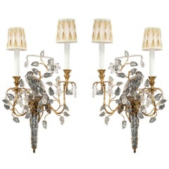 True Pair of Crystal, Gilt Metal and Silvered Metal Sconces by Maison Baguès