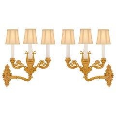 True Pair of French 19th Century Charles X Period Ormolu Sconces