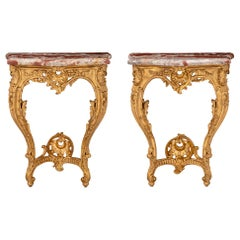 True Pair of French 19th Century Louis XV Style Giltwood Consoles