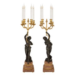 True Pair of French 19th Century Louis XVI Style Candelabras Lamps