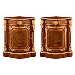 True Pair of French 19th Century Louis XVI Style Corner Cabinets