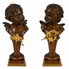 True Pair of French 19th Century Louis XVI Style, Statues, Signed Carl Kauba