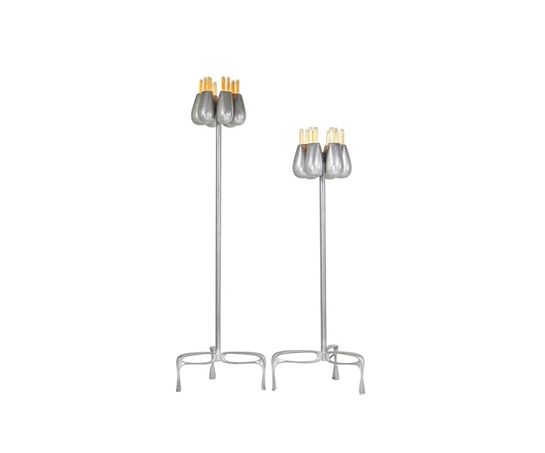 "Truffula standing lamp, cast, burnished and welded recycled aluminum, Jordan Mozer, USA, 2013 Jordan Mozer (b.1958). Commercial wiring. Accommodates 18 medium base standard lamps. Signed. 85"" x 38"" diameter. ( 216 cm x 96 cm"