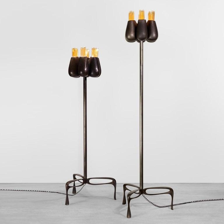 Modern Truffula Floor Lamp, Patinated Cast Aluminum, Small, Jordan Mozer, USA, 2012 For Sale