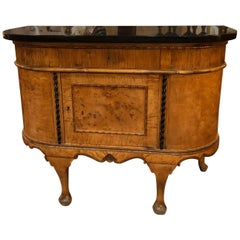 Truly Lovely Biedermeier Style Curved Console Cabinet Credenza with Marble Top