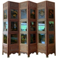 Truly Magnificent Large Carved Wood Hong Kong Screen with Paintings on Glass