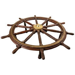 Truly Massive Antique Ship's Wheel Table
