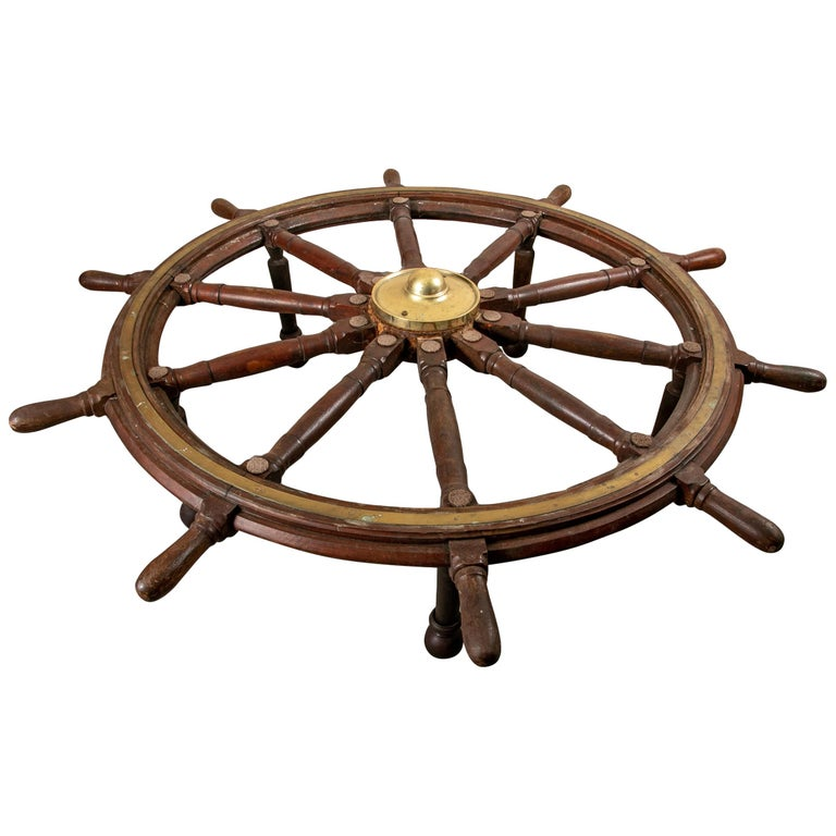 Truly Massive Antique Ship's Wheel Table For Sale