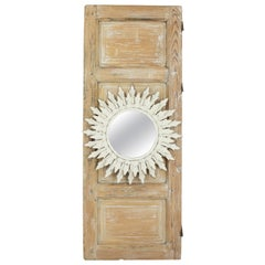 Trumeau with Sunburst Mirror on an Antique White Washed Door