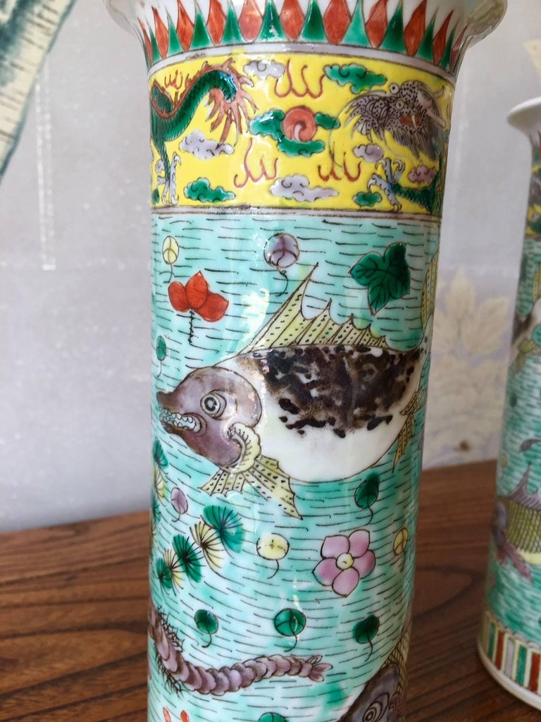 Hand-Painted Trumpet Shaped Fish Vases For Sale