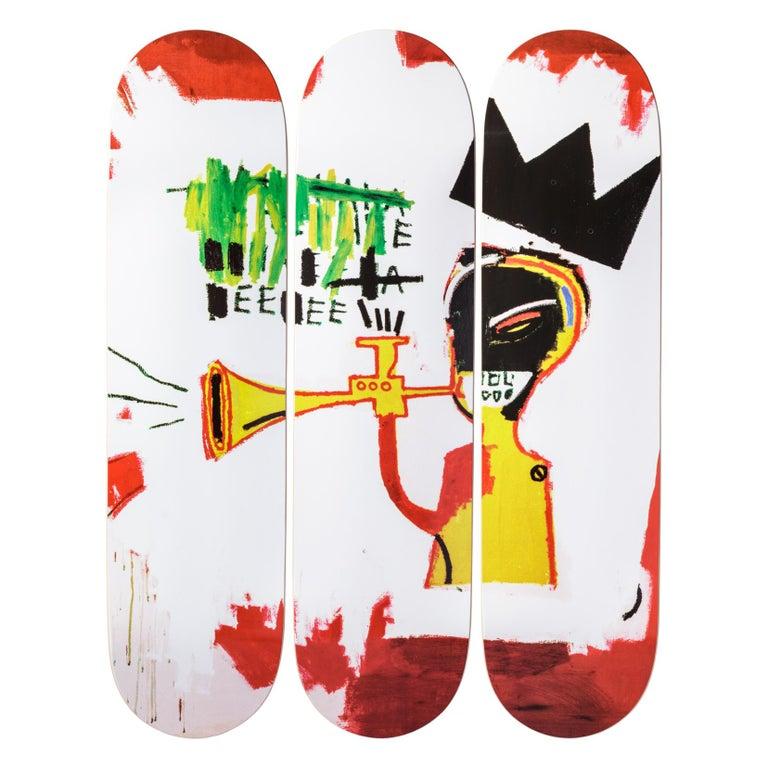 Trumpet skateboard decks after Jean-Michel Basquiat, 2019, offered by Artware Editions