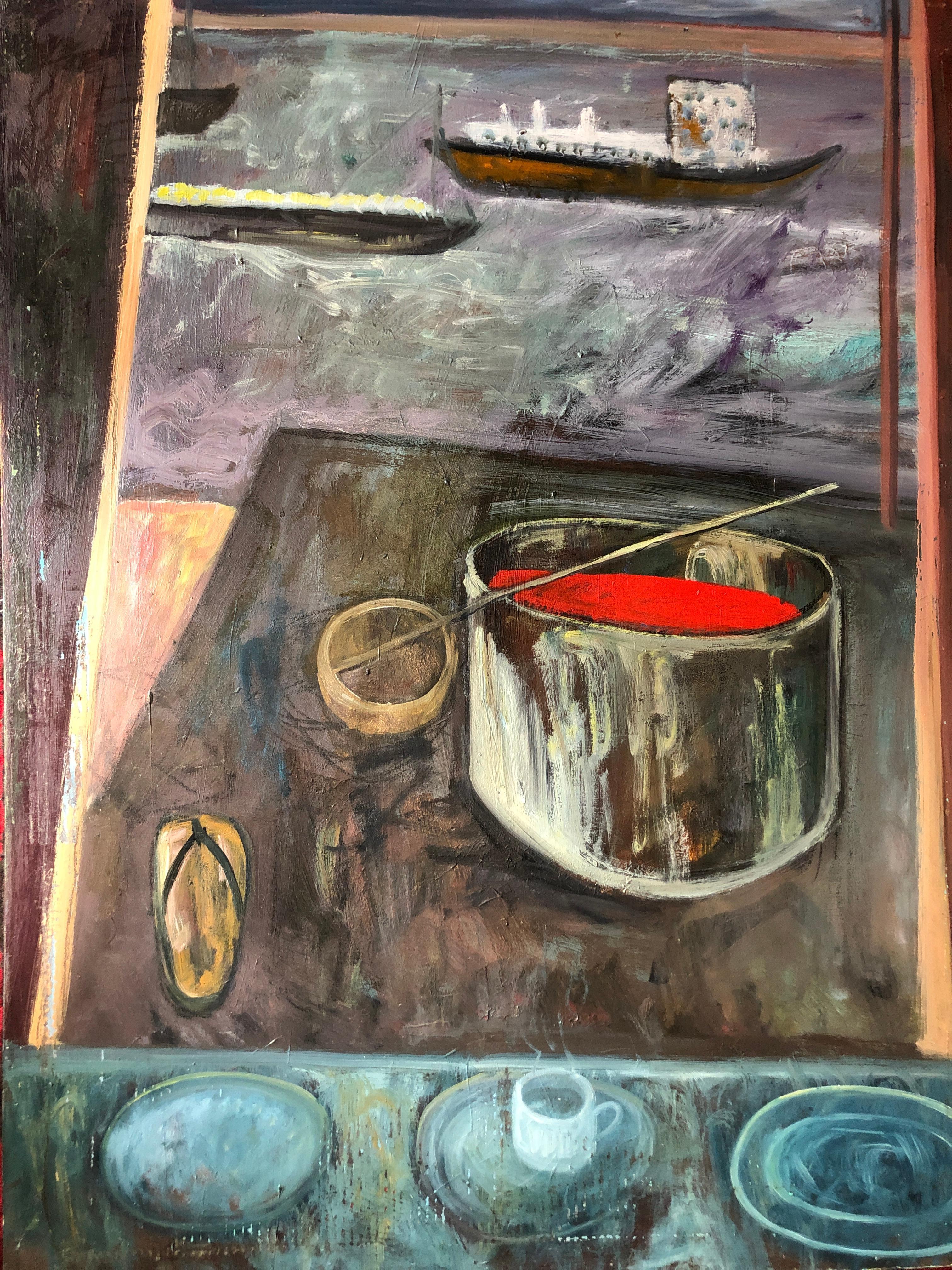 "Large Landscape Scene Bay Area Artist ""Two Ships Passing"""