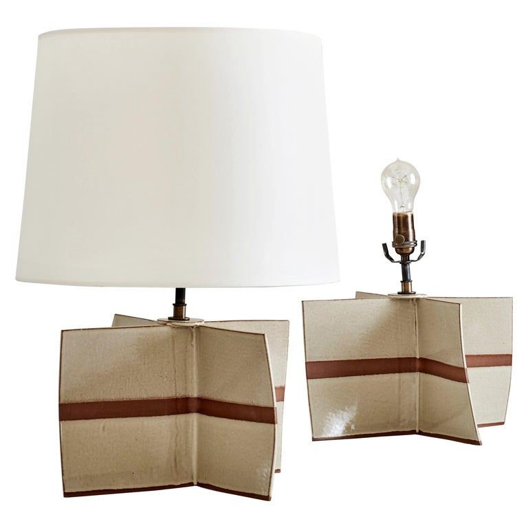 Truro Lamp, Ceramic Sculptural Table Lamp by Dumais Made For Sale