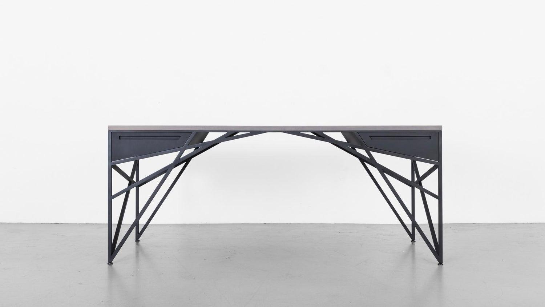 Truss Desk by Uhuru Design, Grey Oak Top and Black Steel Base