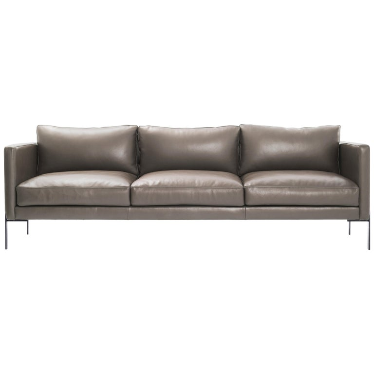 Truss Sofa Greige Leather And Powder Coated Steel Trnk For Sale Stdibs