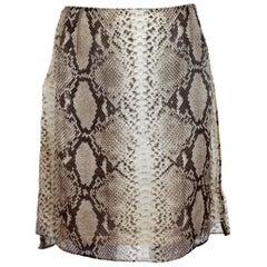 Trussardi Beige Animalier Silk Pencil Skirt Leather Python Texture 1990s