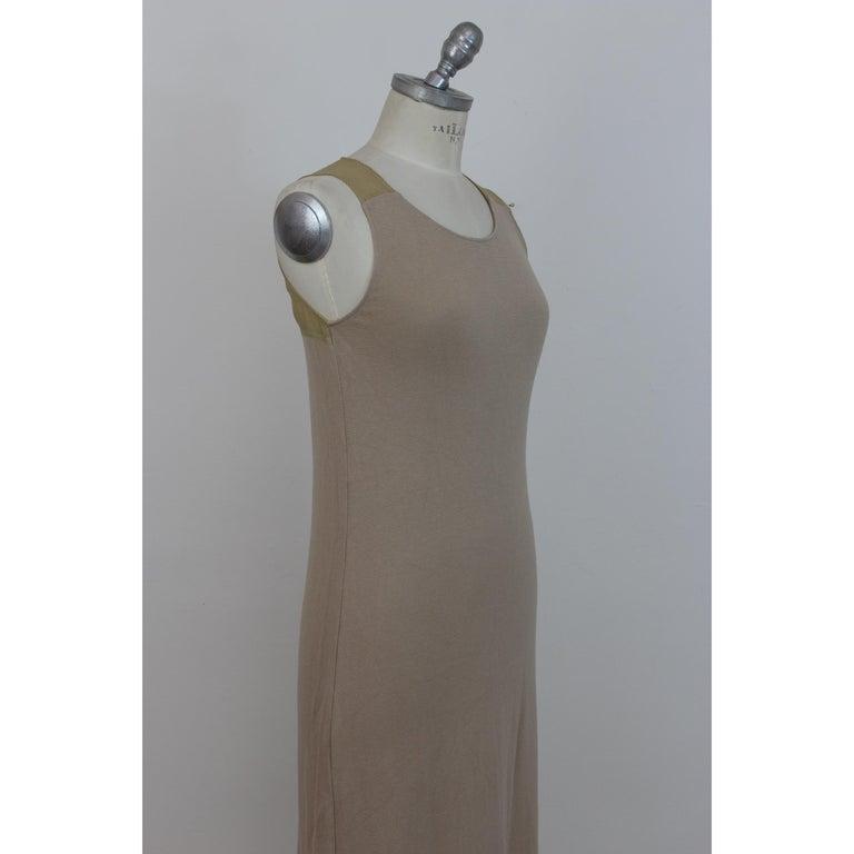 Trussardi Beige Cotton Long Tunic Cocktail Dress For Sale 1