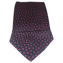 Trussardi blue red pois silk tie
