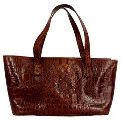 Trussardi Brown Leather Crocodile Shopper Rigid Bag 1980s