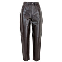 Trussardi Brown Leather Regular Pants 1980s New With Label Biker Trousers