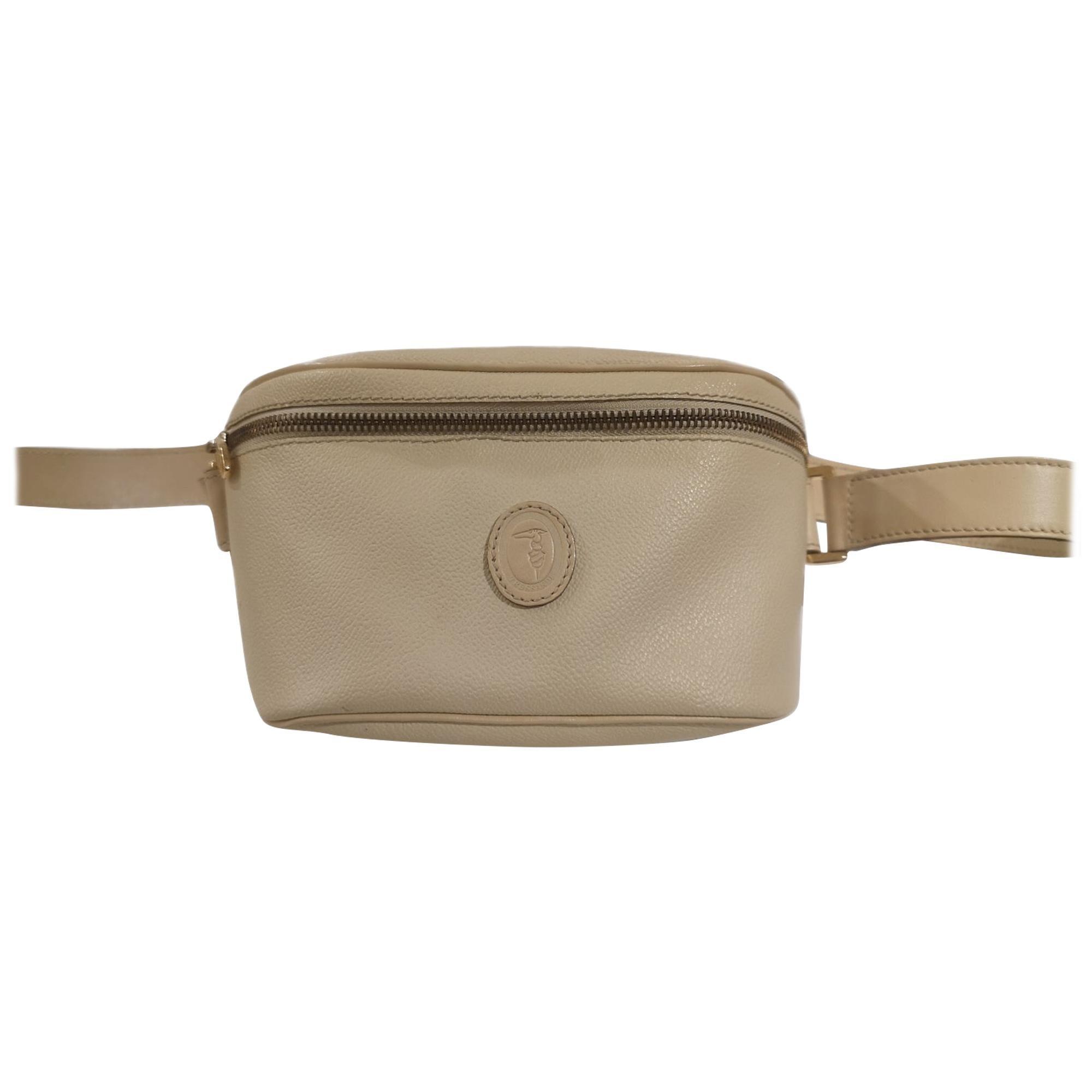 Trussardi cream leather fanny pack