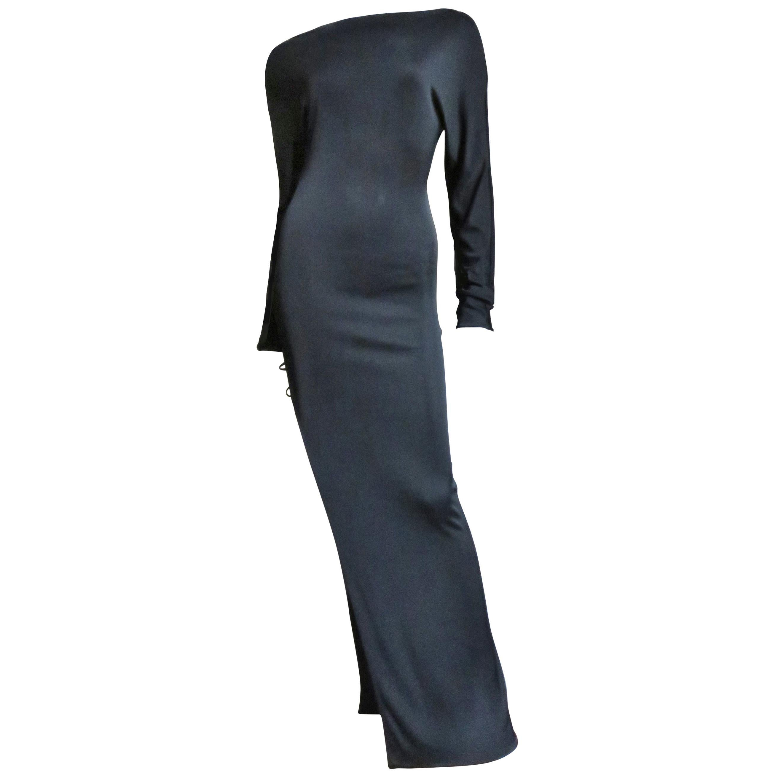 Trussardi Gown with Side Slit and Leather Straps