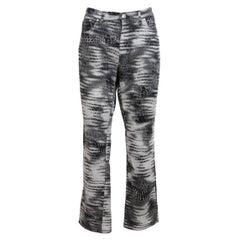 Trussardi Gray Black Cotton Spotted Capri Trousers
