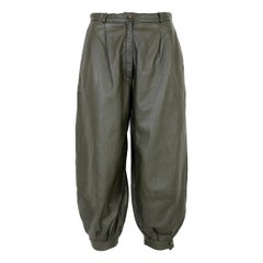 Trussardi Green Leather High Waist Trousers 1980s