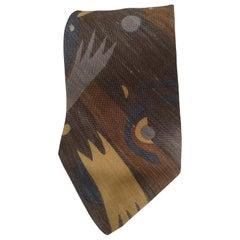 Trussardi grey multicoloured silk tie