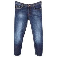 TRUSSARDI Size 30 Indigo Selvedge Denim Zip Fly 370 Close Fit Jeans