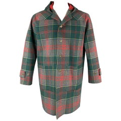 TRUSSARDI Size L Green & Red Plaid Leather Lined Hooded Coat