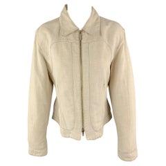 TRUSSARDI Size S Beige Cotton / Flax Zip Up Contrast Stitch Jacket