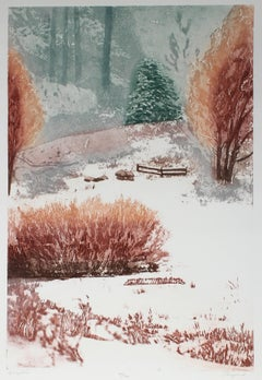 """""""Spring Time"""" Minimalist Landscape Lithograph, Mid 20th Century"""