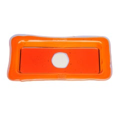Try Large Rectangular Tray in Clear Orange, Lilac by Gaetano Pesce