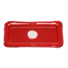 Try Large Rectangular Tray in Mat Red, Clear Fuchsia by Gaetano Pesce