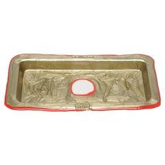 Try Large Rectangular Tray in Matt Bronze and Red by Gaetano Pesce