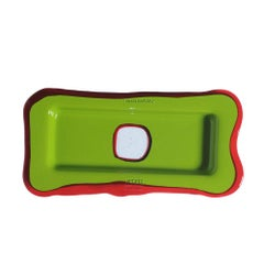 Try Large Rectangular Tray in Matt Green, Clear Ruby by Gaetano Pesce