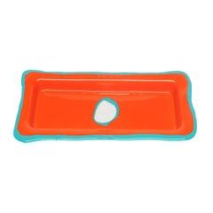 Try Large Rectangular Tray in Matt Orange and Turquoise by Gaetano Pesce