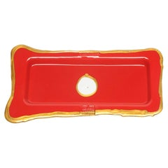 Try Large Rectangular Tray in Matt Red, Gold by Gaetano Pesce