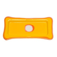 Try Large Rectangular Tray in Matt Yellow, Clear Fuchsia by Gaetano Pesce